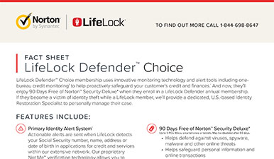 LifeLock Defender Choice Fact Sheet